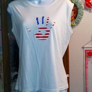 Cute Red,White & Blue Hand Print Top